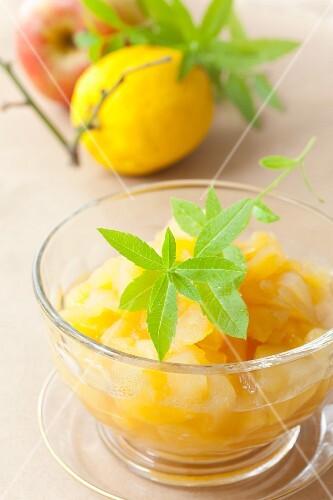 Apple and lemon compote with lemon balm