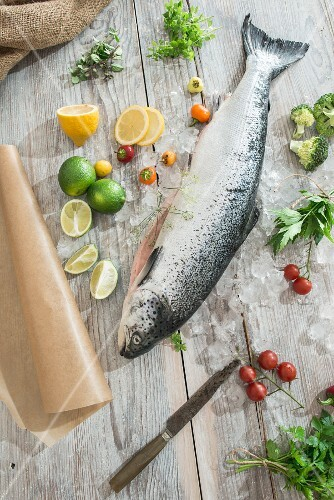 An arrangement of fresh salmon next fruit, herbs and vegetables as ingredients