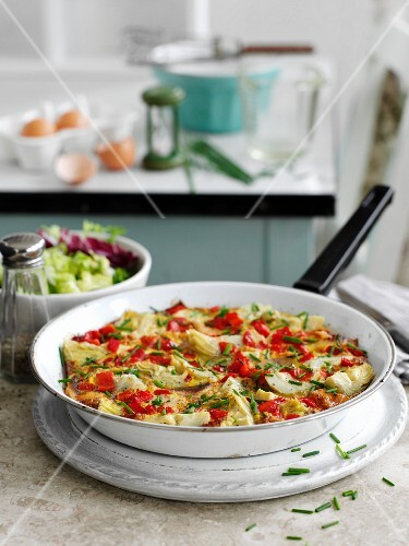Omelette with smoked trout and artichokes