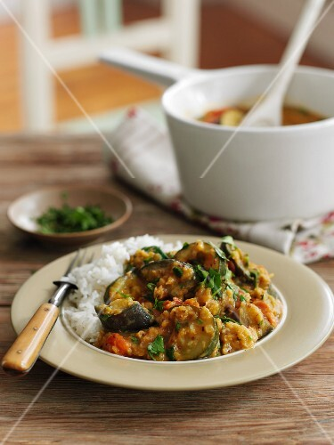 Vegetable dhal with rice (India)