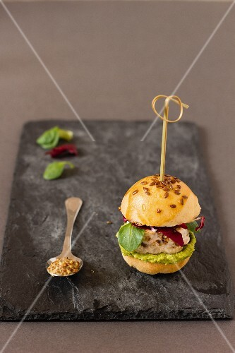 A mini fish burger with flax seeds