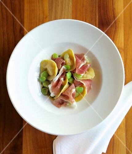 Tortellini with peas and Prosciutto ham (Italy)