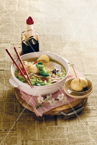 Noodle soup with tea eggs