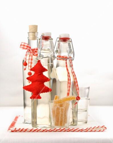 Bottles of homemade ginger liqueur
