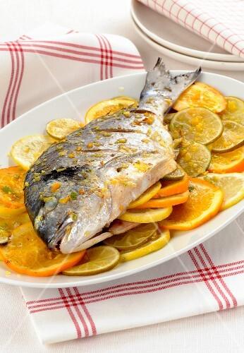 Orata al forno agli agrumi (seabream with citrus fruits, Italy)