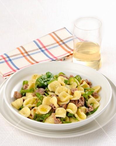 Orecchiette con salsiccia (orecchiette pasta with salsiccia sauce, Italy)