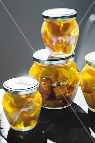 Jars of cheese, Latus Dairy, Istrian, Croatia