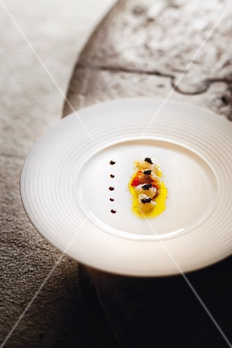 A dish at the Damir & Ornella restaurant in Novigrad, scallops with caviar, Istrian, Croatia