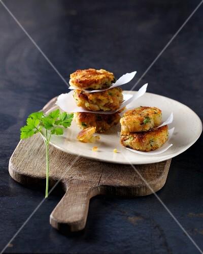 Tyrolean Kaspressknödel (bread and cheese dumplings) with parsley