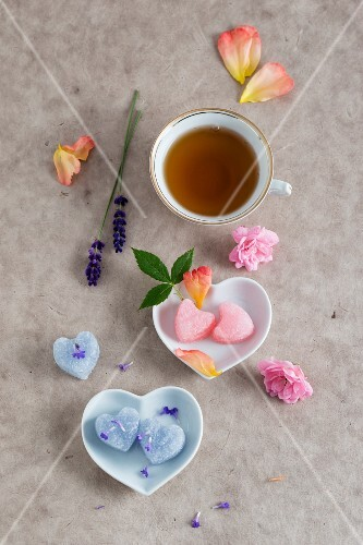 A cup of tea and sugar hearts flavoured with roses and lavender