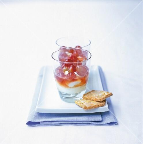 Muscadet grapes in Greek yoghurt