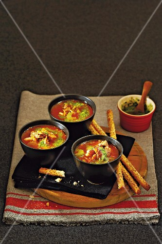 Italian vegetable soup with beef and pesto