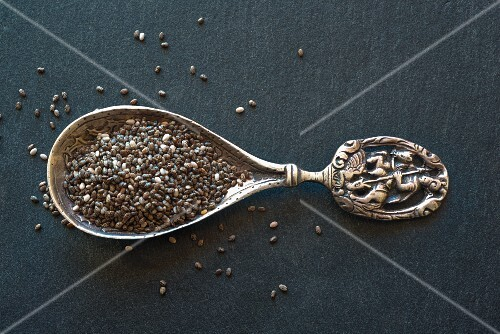Chia seeds on an old spoon