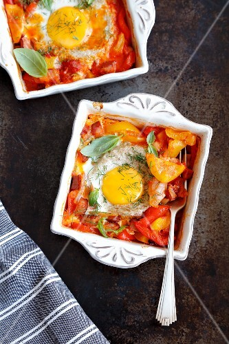 Eggs baked with vegetables and sausage