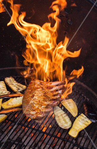 Spare ribs burning on a barbecue
