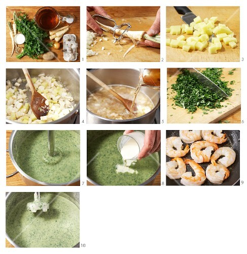 Parsley and parsnip soup with prawns being made