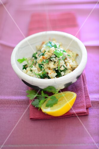 Couscous salad with herbs and lemons