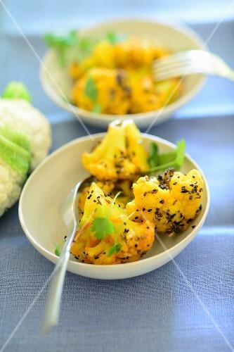 Turmeric cauliflower with black sesame seeds