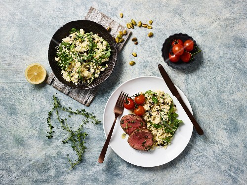 Beef fillet with cauliflower couscous