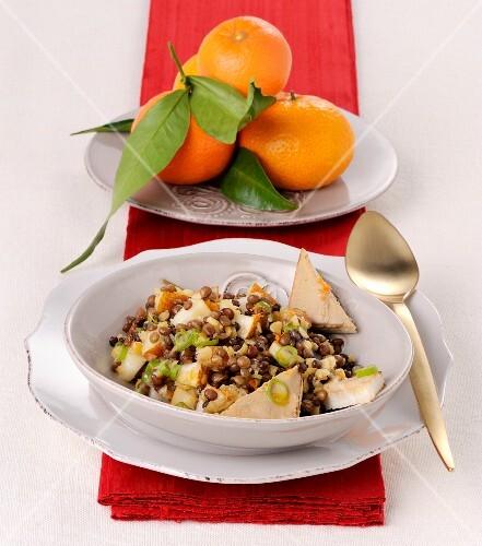 A winter lentil salad
