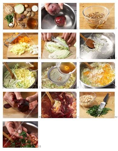 Russian borscht being made