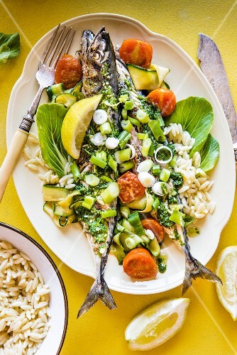 Grilled mackerel with pesto and orzo pasta (seen from above)