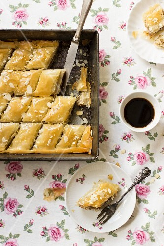 Baklava and a cup of coffee