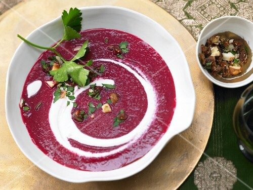 Beetroot soup with apple and hazelnut gremolata