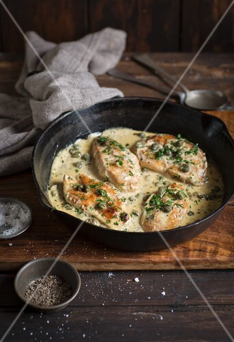 Chicken piccata with capers in a creamy sauce