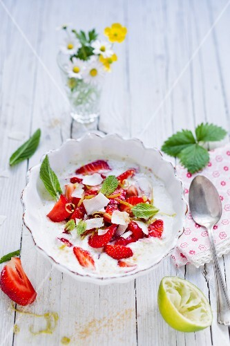 Strawberries on a bed of coconut