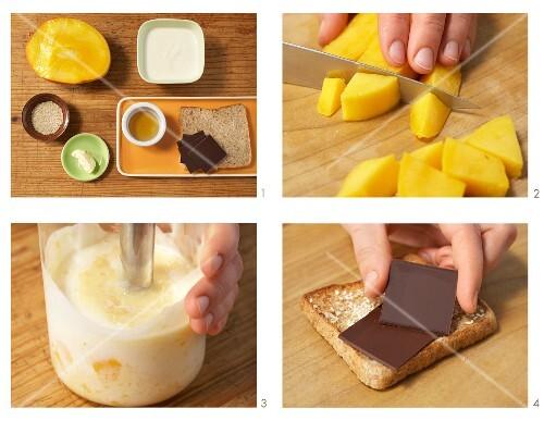 Chocolate on toast with mango yoghurt being made