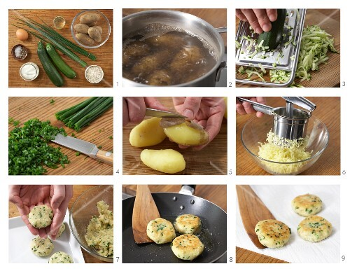 Potato and courgettes cakes with herb quark being made