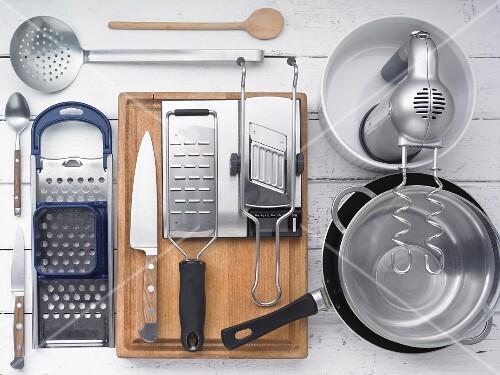 Kitchen utensils for making Spätzle (soft egg noodles from Swabia)