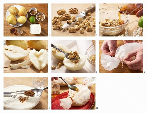 Baked pears in parchment paper being made