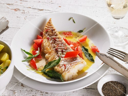 Cod in a butter sauce with sage