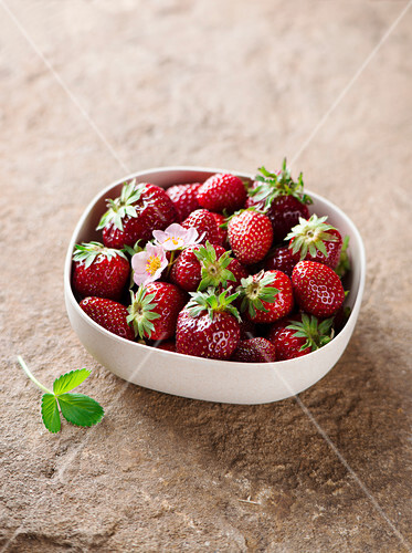 Fresh strawberries in a small dish