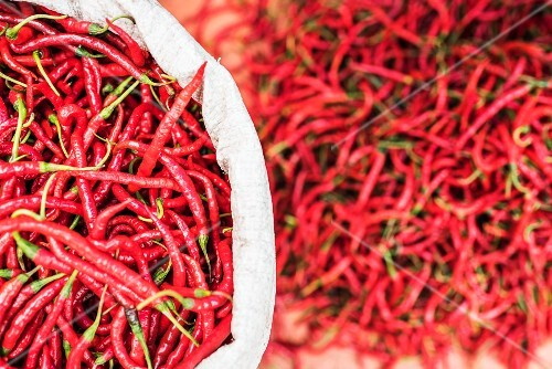 Red peppers on a stand at Bukkittingi market in West Sumatra, Indonesia