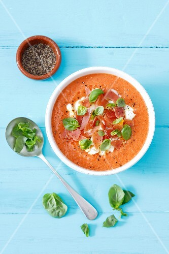 Salmorejo (cold tomato soup with ham and eggs, Spain)