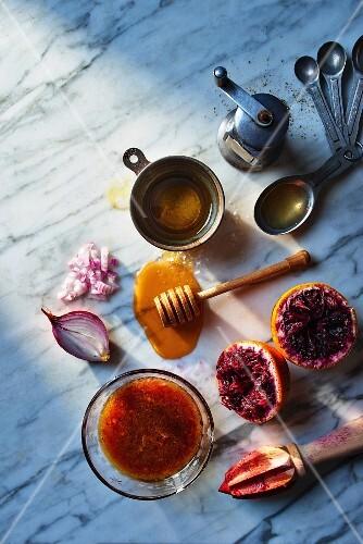 Blood orange vinaigrette with ingredients