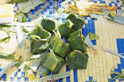 Ho mok parcels (steamed fish mousse in banana leaves, Thailand)