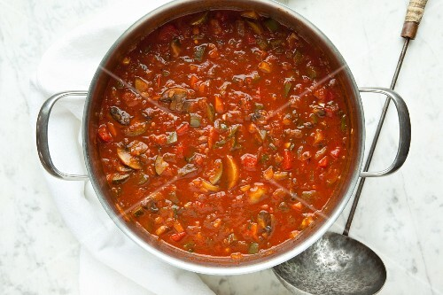 Homemade tomato sauce in a large pot