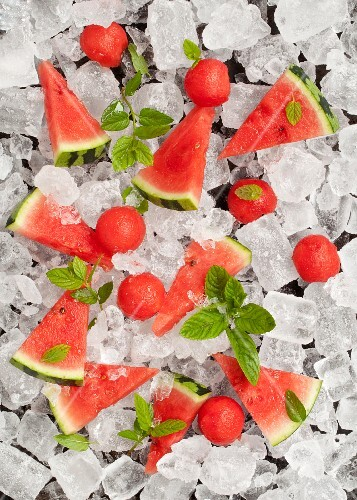 Watermelon and fresh mint on ice cubes