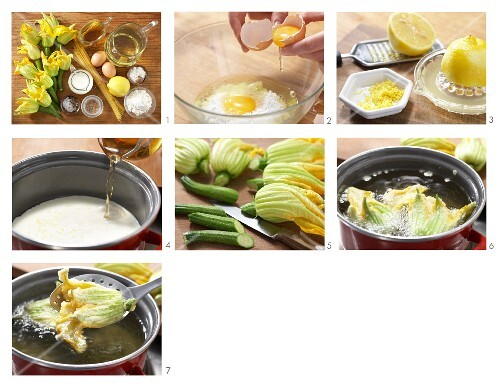 Stuffed courgette flowers with lemon sauce being made