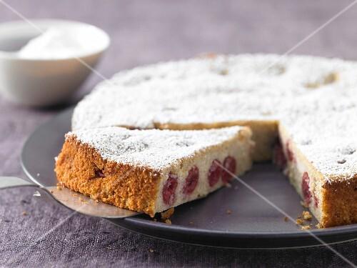 Ricotta quark cake with morello cherries