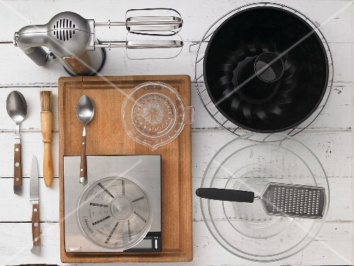 Kitchen utensils for making a peach Bundt cake