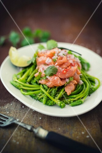 Salmon trout ceviche on wild asparagus