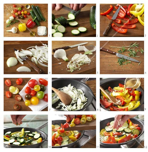 Colourful fried courgettes and peppers with sheep's cheese being made