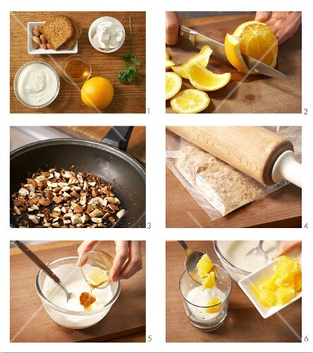 Orange cream with honey and roasted nuts being made
