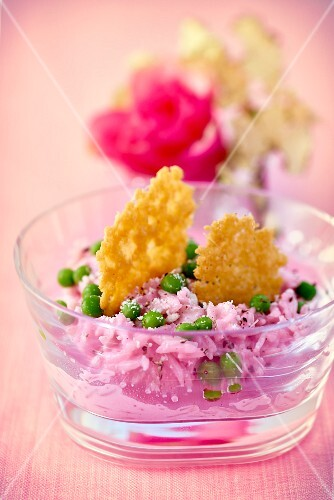 Beetroot risotto with peas and Parmesan crisps