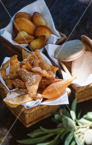 Bugnes and madeleines (French pastries)